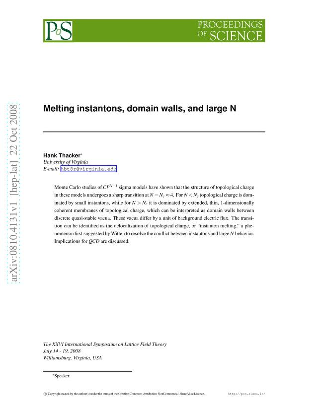 H. B. Thacker - Melting Instantons, Domain Walls, and Large N