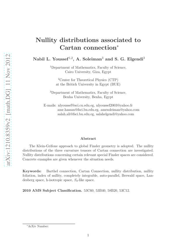 Nabil L. Youssef - Nullity distributions associated to Cartan connection