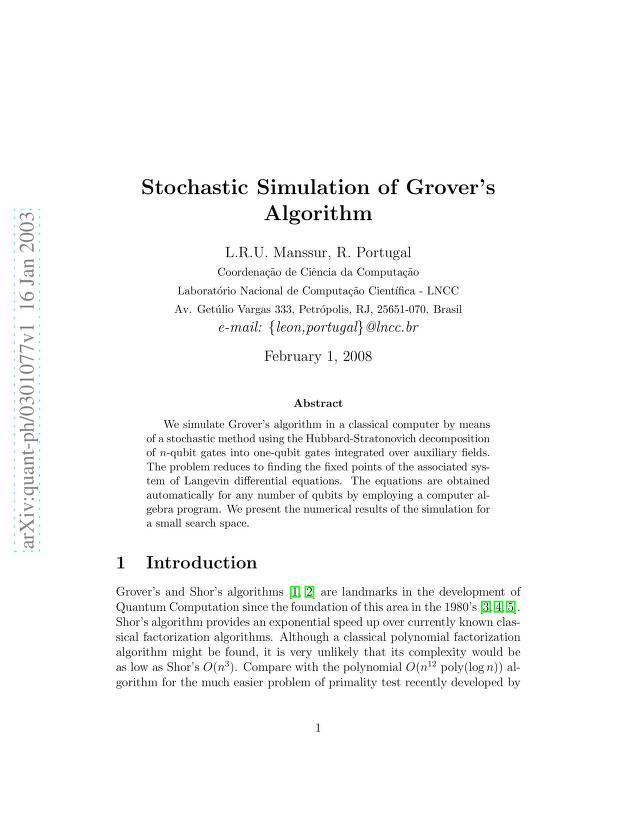 L. R. U. Manssur - Stochastic Simulation of Grover's Algorithm