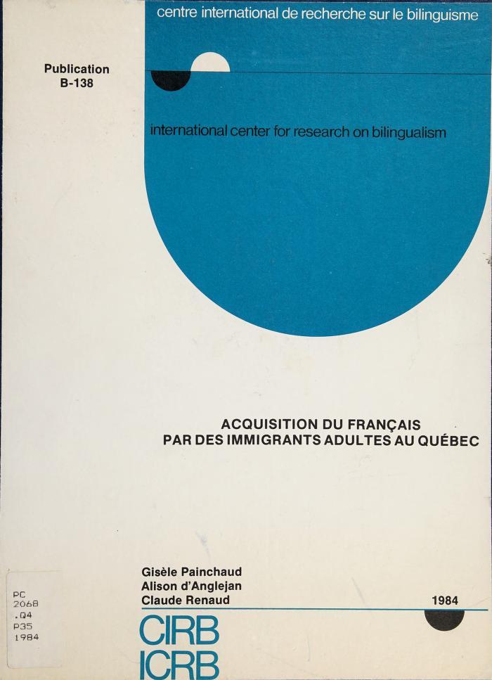Acquisition du français par des immigrants adultes au Québec by Gisèle Painchaud