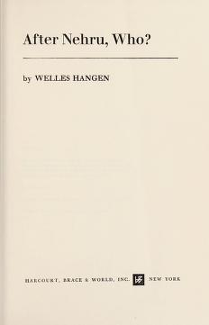 Cover of: After Nehru, who? | Welles Hangen