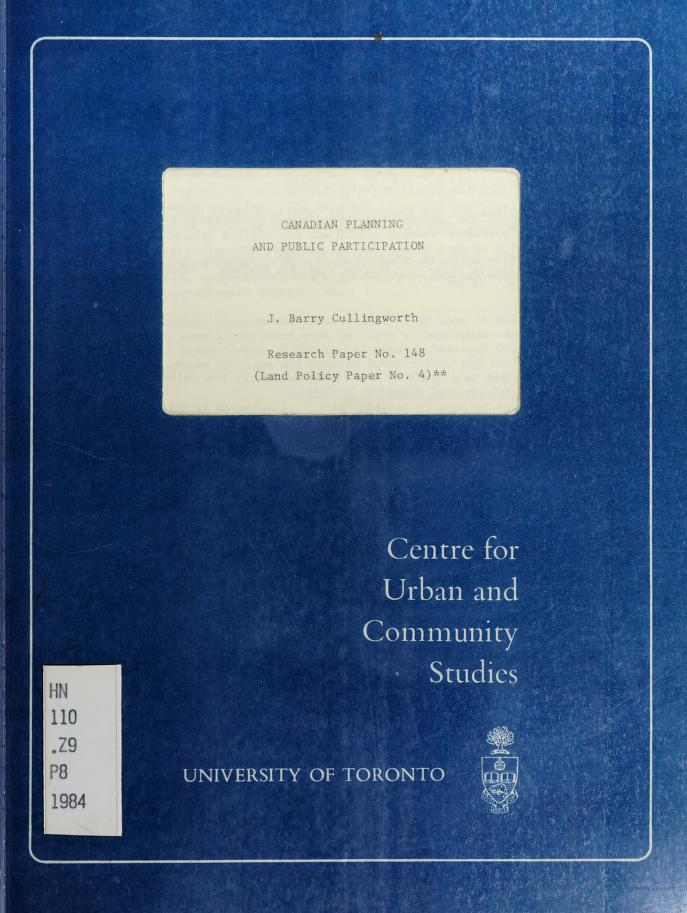 Canadian planning and public participation by J. B. Cullingworth