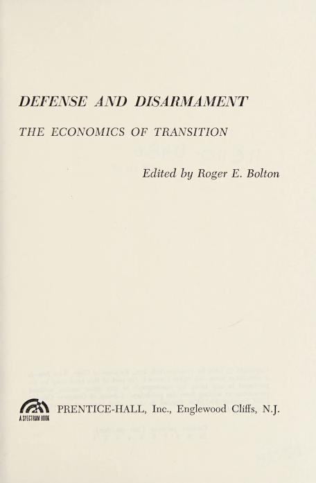 Defense and disarmament by Roger E. Bolton