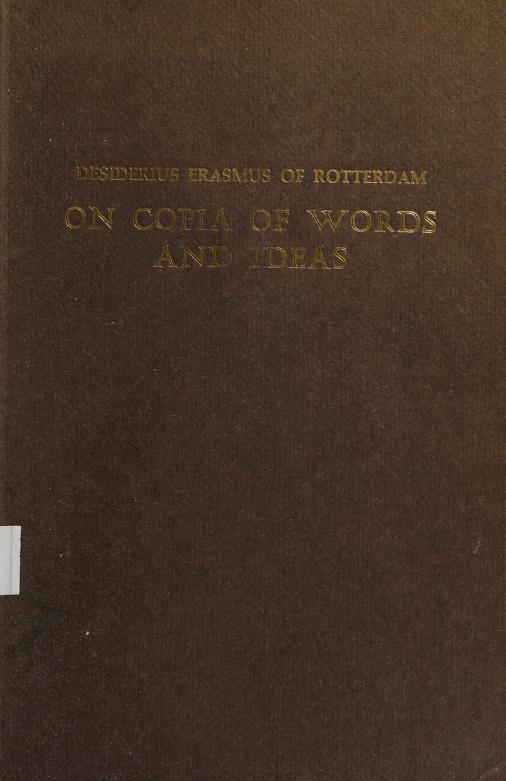 On copia of words and ideas = by Desiderius Erasmus